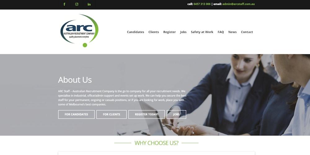 Website Design Portfolio | ARC Staff